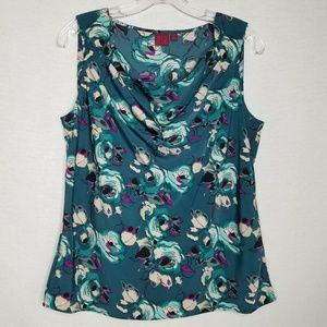 212 Collection Floral Sleeveless Blouse Green